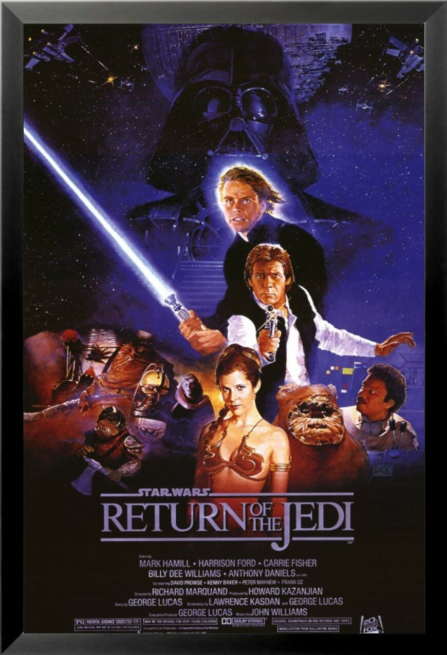 Buy Art For Less Star Wars Return Of The Jedi Movie Harrison Ford Mark Hamill Carrie Fisher Billy Dee Williams George Lucas Sci Fi Framed Vintage Advertisement Reviews Wayfair