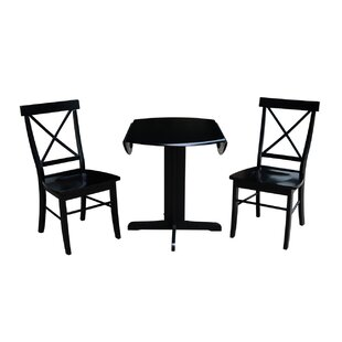 Trepanier 3 Piece Drop Leaf Solid Wood Dining Set August Grove