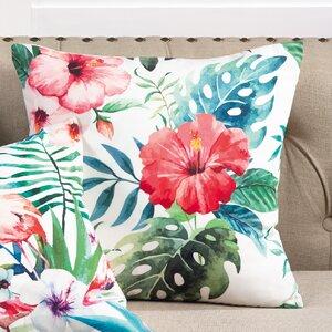 Hibiscus Floral Tropical Print Indoor/Outdoor Throw Pillow