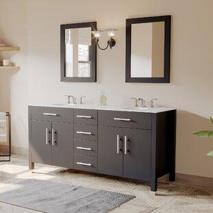 Affordable Plum 72 Double Bathroom Vanity Set with Mirror ByCambridge Plumbing