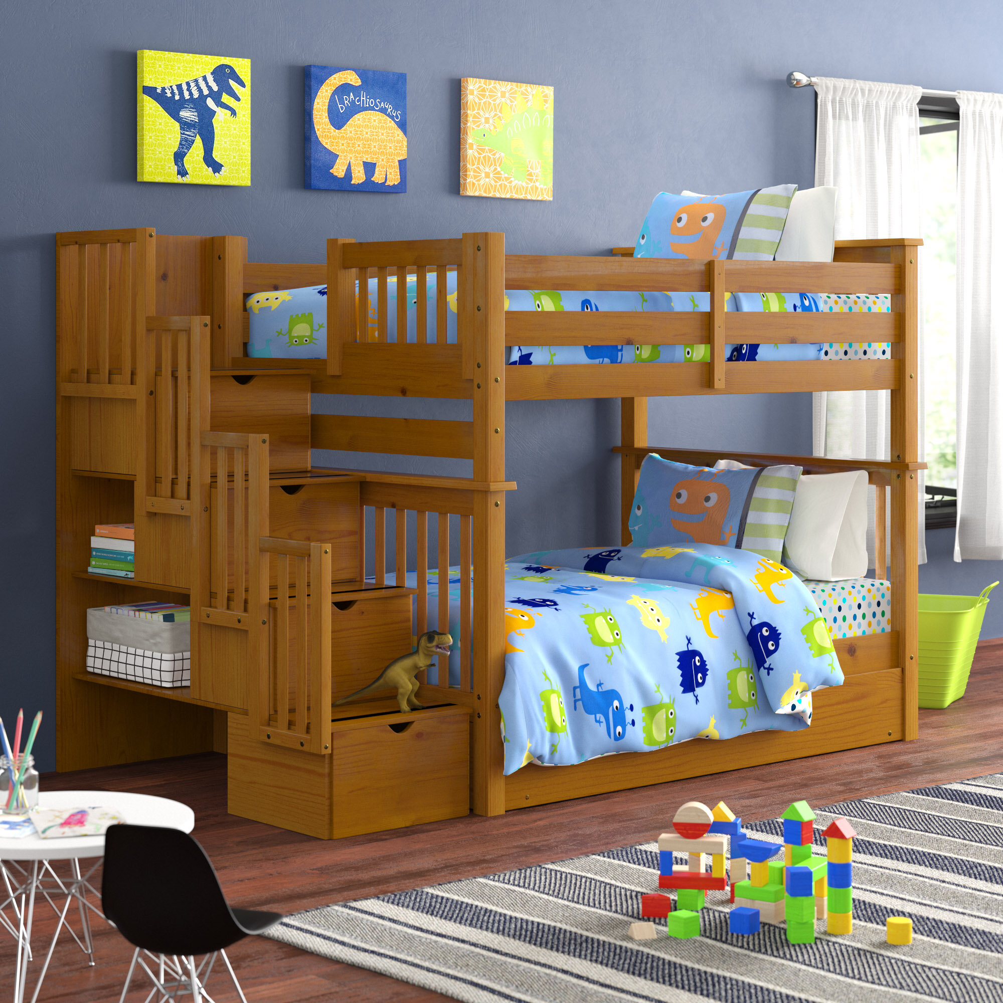 Harriet Bee Tena Stairway Full Over Full Bunk Bed With Trundle And 4 Drawers Reviews Wayfair