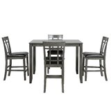 Acke 5 - Piece Counter Height Rubberwood Solid Wood Dining Set by Red Barrel Studio®