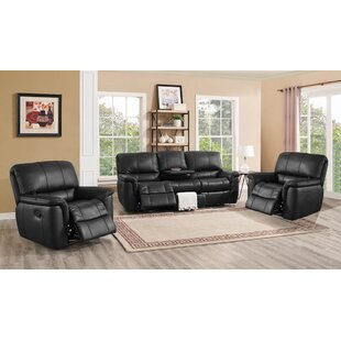 Darby Home Co Averill Reclining Leather 3 Piece Living Room Set