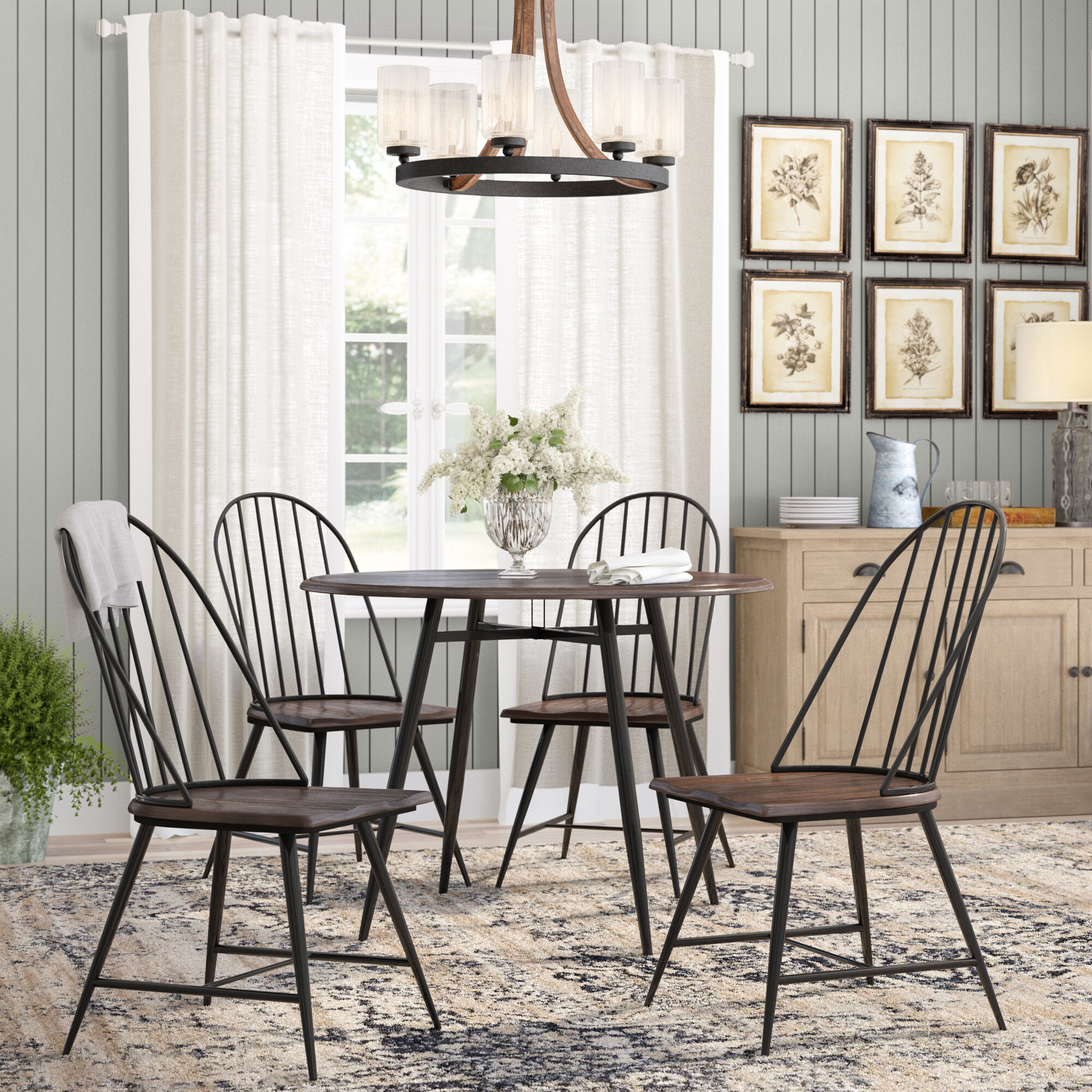 Laurel Foundry Modern Farmhouse Hughley 5 Piece Dining Set &