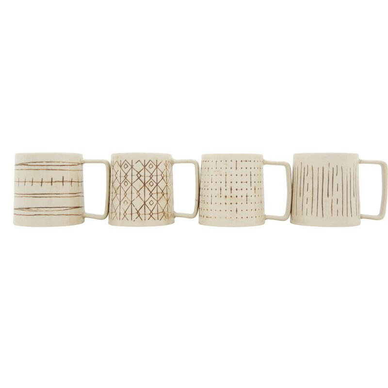 77c598ca29c Bungalow Rose Kincannon 4 Piece Coffee Mug Set | Wayfair