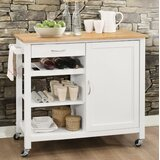 Rodrigo Kitchen Cart with Solid Wood Top by Charlton Home®