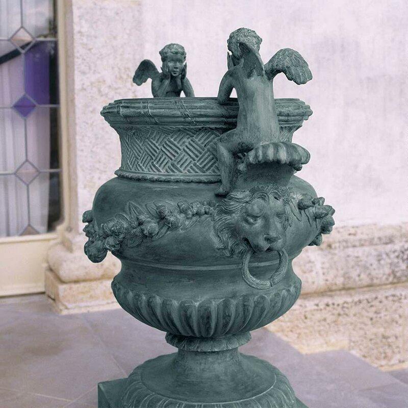 The Duval Double Cherub Lost Wax Garden Urn
