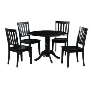 Chesterton Transitional 5 Piece Drop Leaf Solid Wood Dining Set Alcott Hill