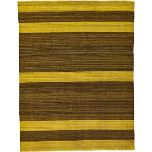 Best Choices One-of-a-Kind Warminster Hand-Knotted 5'3 x 6'9 Wool Brown/Yellow Area Rug By Isabelline