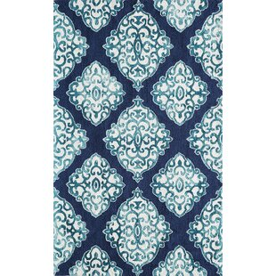 Bargain Lucy Hand-Hooked Navy/White Area Rug By Bungalow Rose
