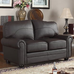 Upholstered Scroll Leather Loveseat