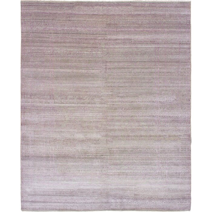 One Of A Kind Agawam Hand Knotted Wool Light Gray Purple Area Rug