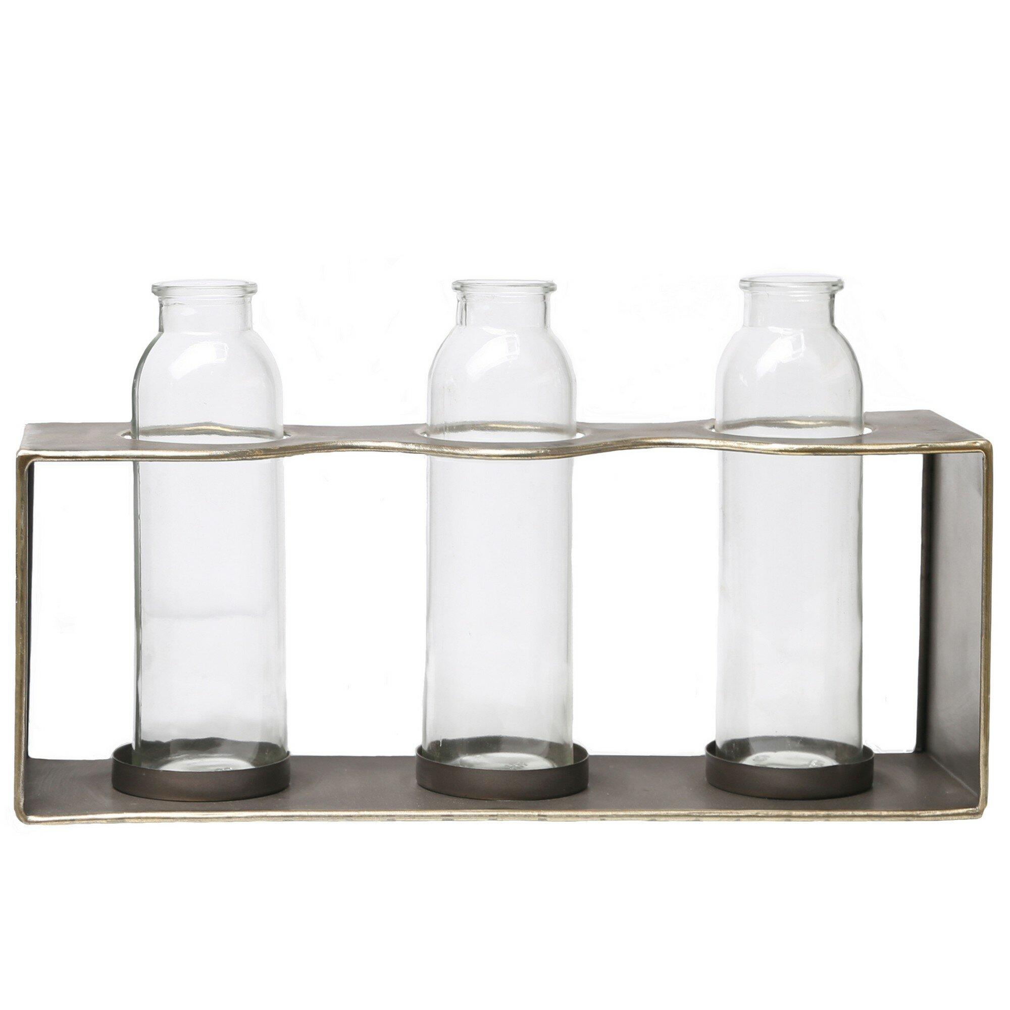 Williston Forge 2 Piece Groff Brown Clear Indoor Outdoor Metal Table Vase Set Wayfair