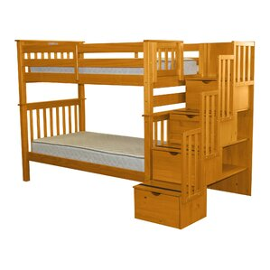 Stairway Tall Twin over Twin Bunk Bed with Storage by Bedz King