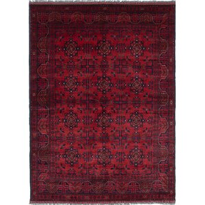 One-of-a-Kind Rosales Hand-Knotted Rectangle Red/Black Area Rug