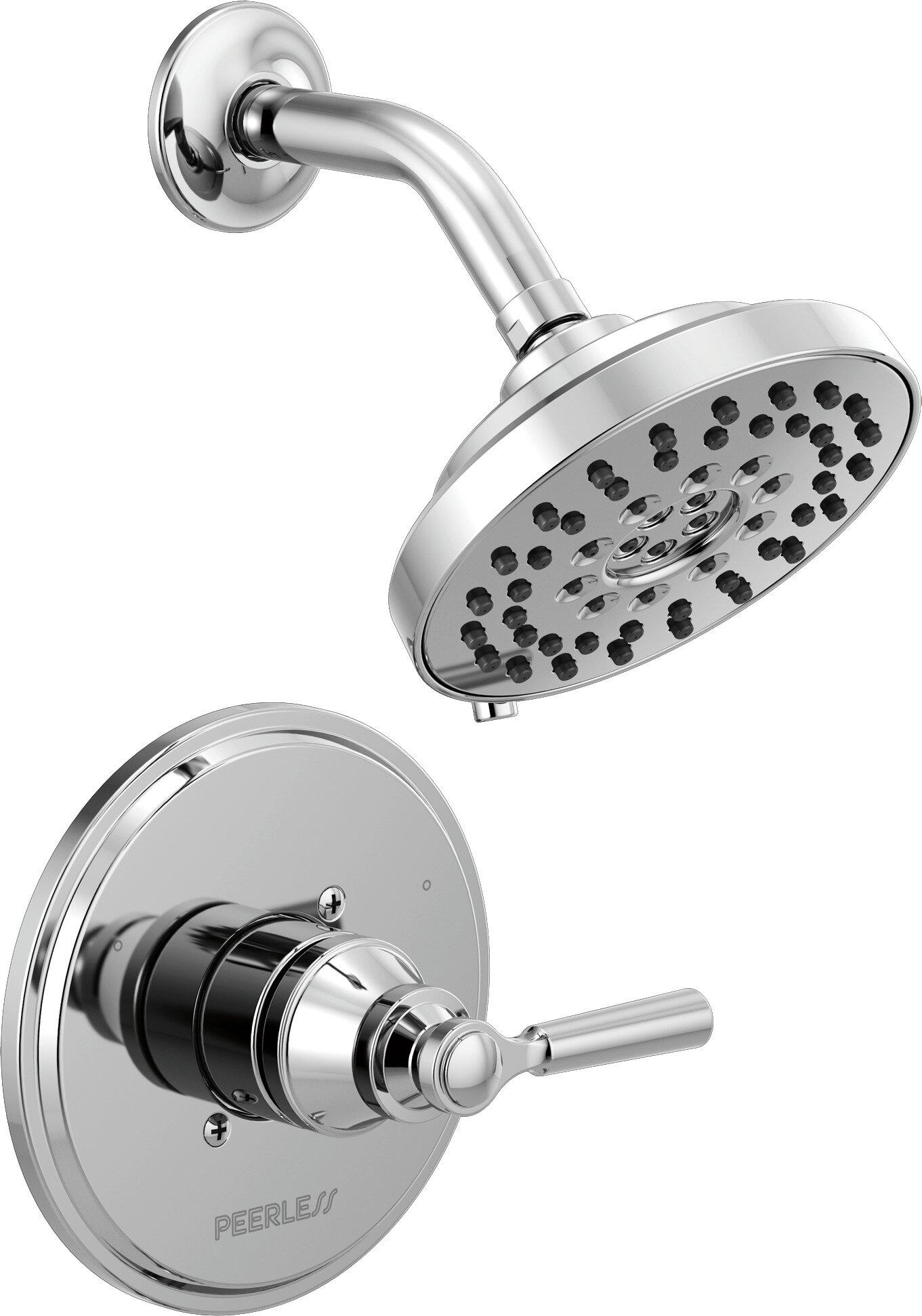 SHOWER HEAD For LOW Water Pressure Flow 1.75 gpm ON OFF Chrome PEERLESS PAIR x 2