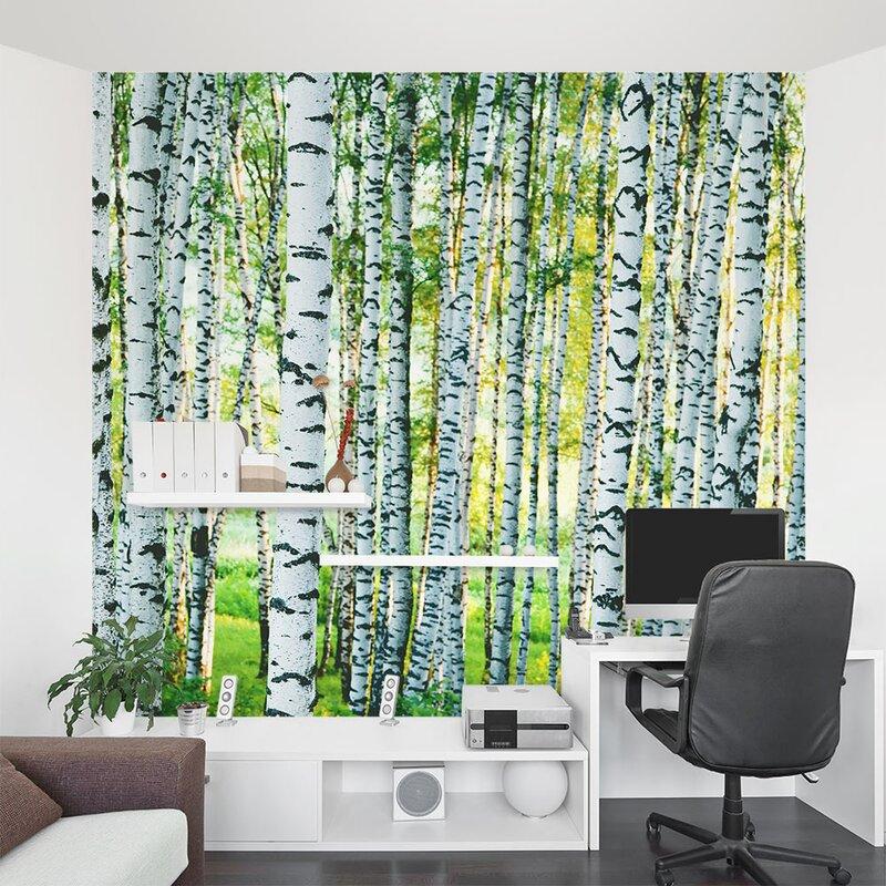 "Wallums Wall Decor Spring Birch Tree Forest 8' X 96"" 2"