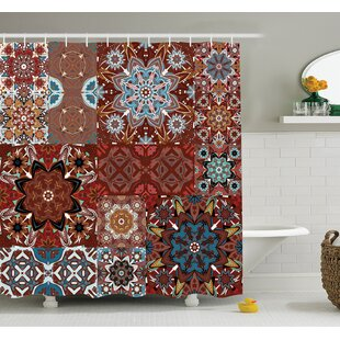 Farm House Classic Victorian Floral Authentic Motives and Ethnic Indian Mandala Pattern Shower Curtain Set