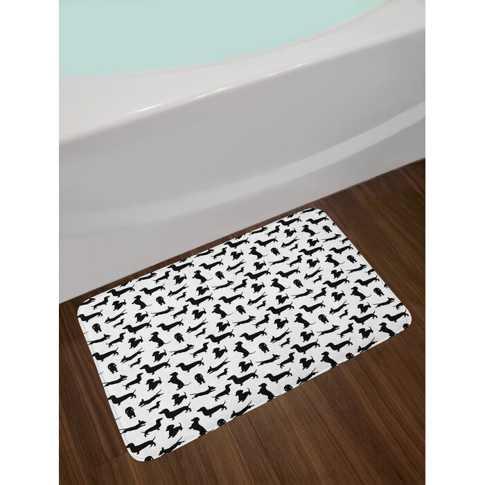 Dog Lover Monochrome Dachshunds In Numerous Stances Active Life Pet Canine Abstract Image Non Slip Plush Bath Rug