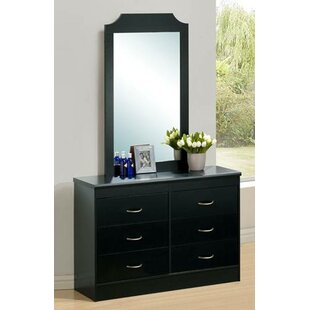 Hodedah 6 Drawer Double Dresser with Mirror