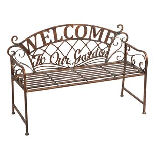 August Grove Hillingdon 'Welcome to our Garden' Metal Garden Bench