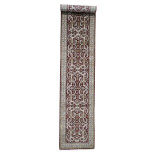 Reviews One-of-a-Kind Bakken Hand-Knotted 3'5 x 19'5 Wool Red/White Area Rug By Isabelline