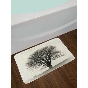 Ivory Dark Gray Black and White Bath Rug