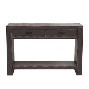 Beecher Faux Leather Drawer Console Table with Nail Head Trim by Alcott Hill