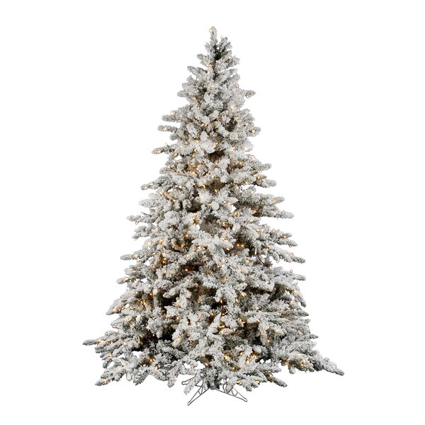 Flocked Utica 12 Green Fir Artificial Christmas Tree With 2150 Dura Lit Clear Lights With Stand