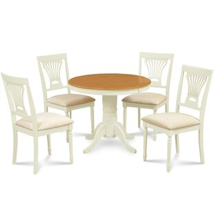 Dahlke 5 Piece Solid Wood Dining Set August Grove