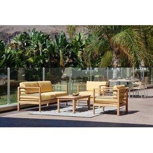 Rosecliff Heights Crisfield 4 Piece Teak Sunbrella Sofa Set with Cushions
