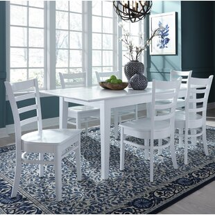 36 X 60 Extendable 7 Piece Dining Set with 4 Ladderback Chairs