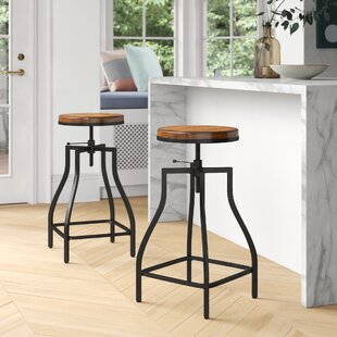 Wanda Swivel Adjustable Height Bar Stool Set of 2 by Foundstone