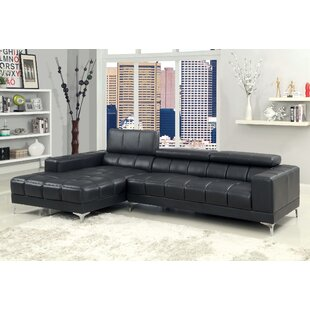 Shop Derrikke Leather Reclining Sectional by Hokku Designs