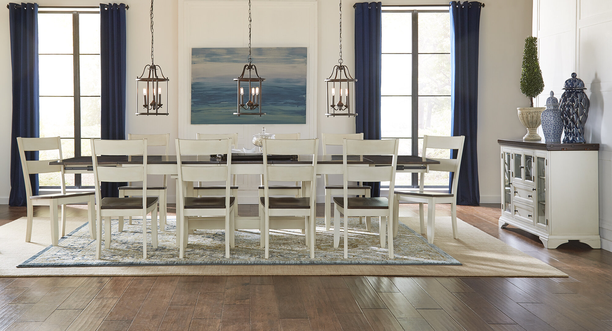 Extendable Solid Wood Dining Set