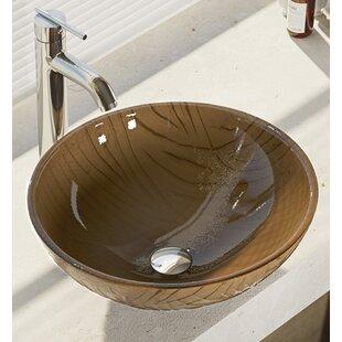 Tawny Glass Circular Vessel Bathroom Sink with Faucet ByRené Elkay