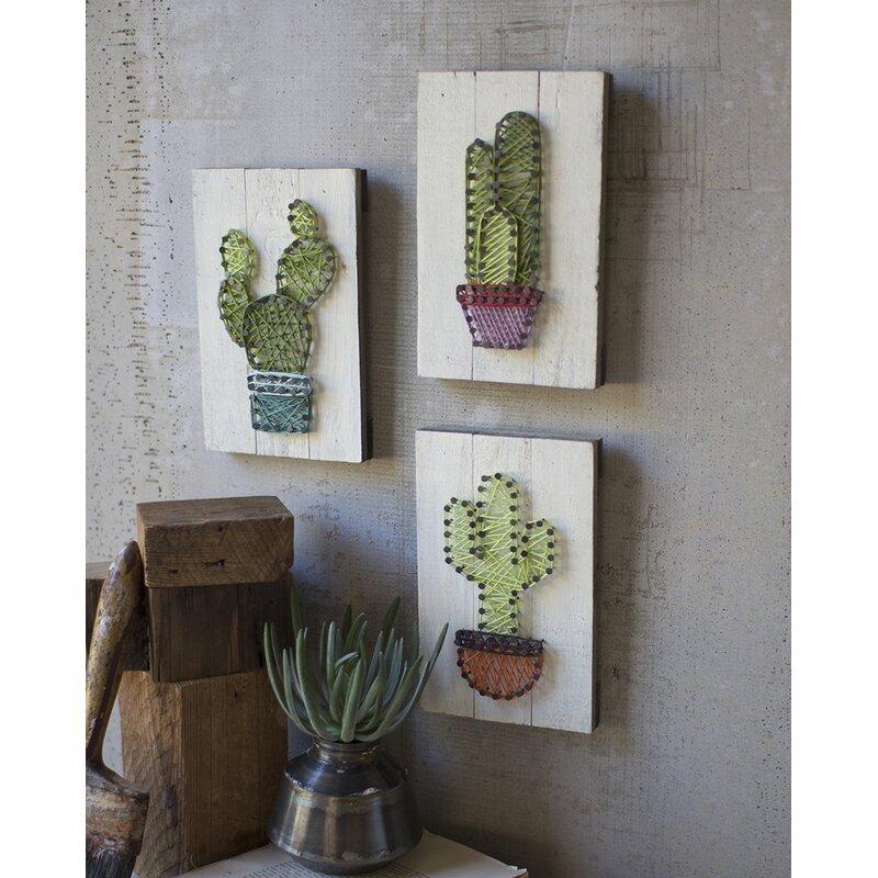 3 Piece Cactus String Art On Wooden Plaques Wall Décor Set