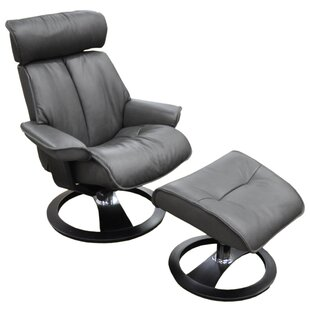 Santa Monica Ergo Leather Manual Swivel Recliner with Ottoman