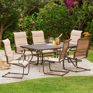 Darby Home Co Zangerl Spring Hills Padded C-Spring 7 Piece Dining Set