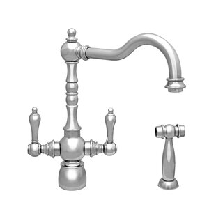 Whitehaus Collection Englishhaus Double Handle Deck Mounted Standard Kitchen Faucet with Side Spray