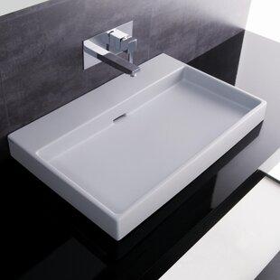 Inexpensive Ceramica I Urban Ceramic Ceramic Rectangular Vessel Bathroom Sink with Overflow ByWS Bath Collections