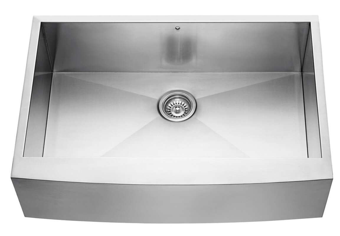 33 inch farmhouse apron single bowl 16 gauge stainless steel kitchen sink 33 inch farmhouse apron single bowl 16 gauge stainless steel      rh   jossandmain com