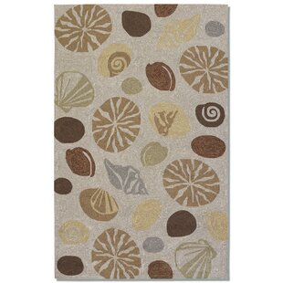 Rundall Hand-Hooked Tan Indoor/Outdoor Area Rug