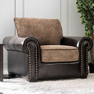 Horley Leather and Fabric Rolled Armchair By Fleur De Lis Living