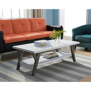 Wrought Studio Heather Two-Tone Wooden Coffee Table with Storage