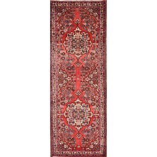 Read Reviews One-of-a-Kind Lysander Hamadan Persian Traditional Vintage Hand-Knotted Runner 3'9 x 10'5 Wool Blue/Burgundy Area Rug By Isabelline