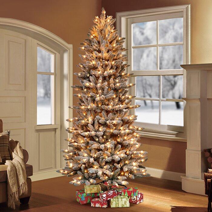 Pre Lit Flocked Slim Fraser Fir Artificial Christmas Tree
