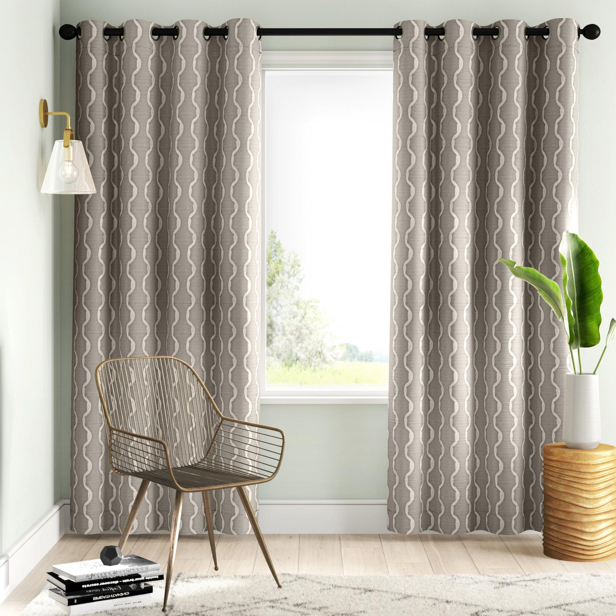 Mercury Row Magana Geometric Semi Sheer Grommet Curtain Panels Reviews Wayfair