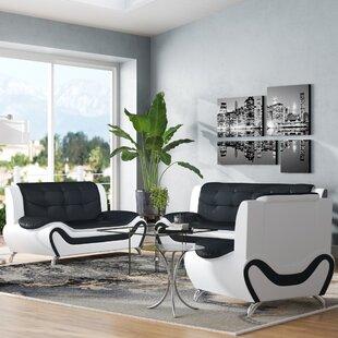 Crocker 3 Piece Leather Living Room Set