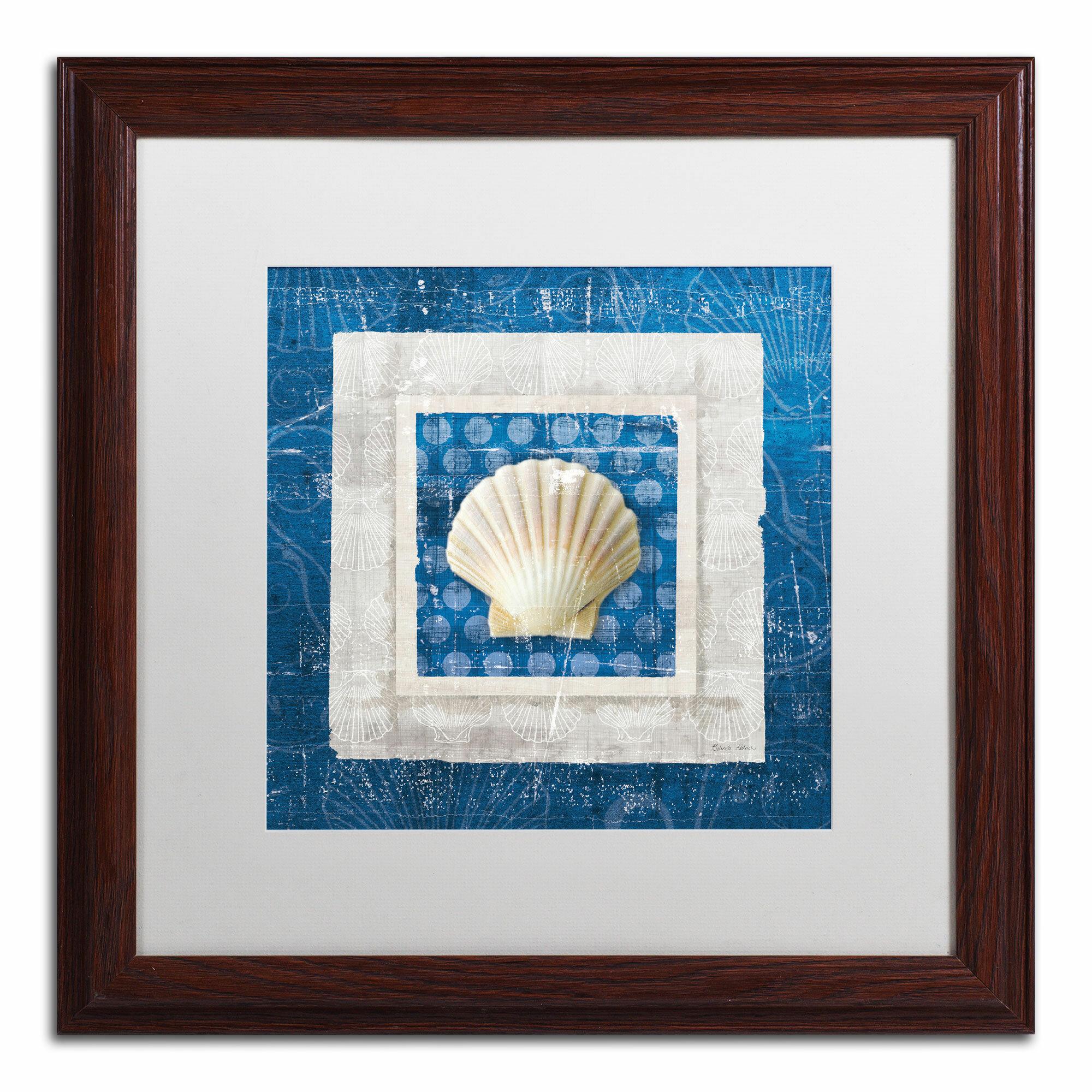 Trademark Art Sea Shell Iii On Blue By Belinda Aldrich Framed Graphic Art Wayfair